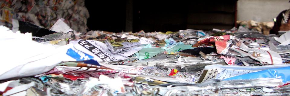 札幌市内古紙問屋の選別ライン。雑多な種類の紙類が手選別されてから売られていく。